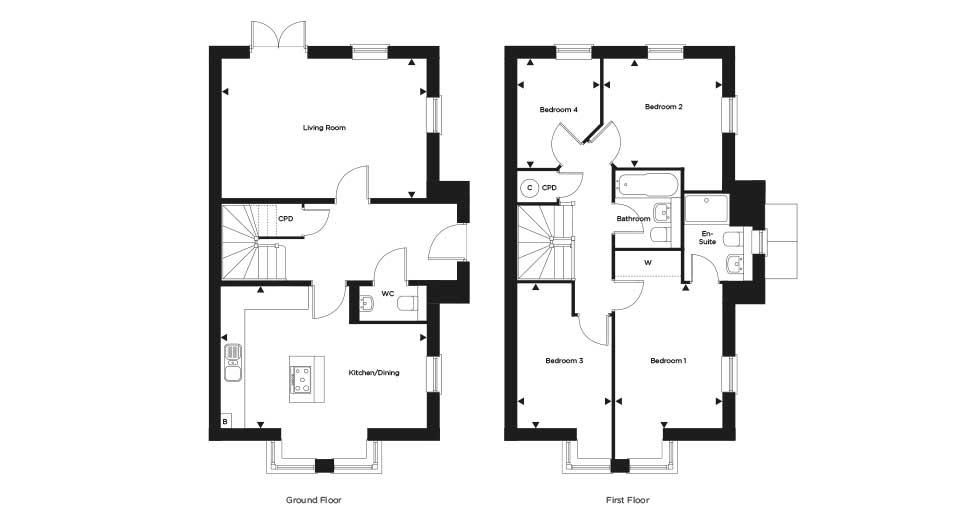 Four bedroom homes available with a deposit of less than £23,000 using Help to Buy! Floor plan